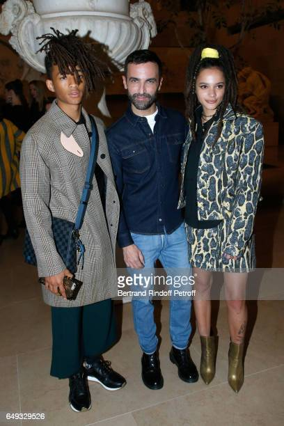 Jaden Smith Stylist Nicolas Ghesquiere and Sasha Lane pose after the Louis Vuitton show as part of the Paris Fashion Week Womenswear Fall/Winter...