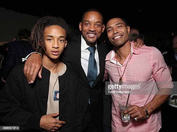 Jaden Smith Will Smith and Caleeb Pinkett attend the after party for a screening Of Columbia Pictures' 'Concussion' on November 23 2015 in Westwood...