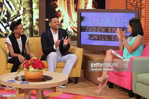 Jaden Smith Will Smith and Karla Martinez visit Univision's Despierta America to promote their film 'After Earth' at Univision Headquarters on May 16...