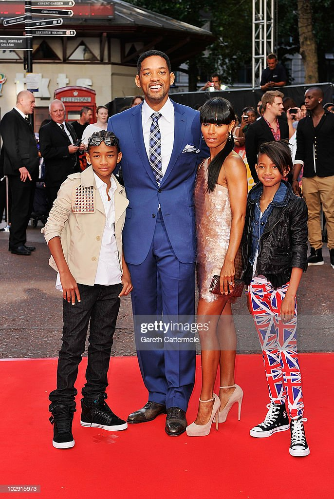 Jaden Smith, Will Smith, Jada Pinkett Smith, and Willow Smith attend the UK Film Premiere of The Karate Kid at Odeon Leicester Square on July 15, 2010 in London, England.