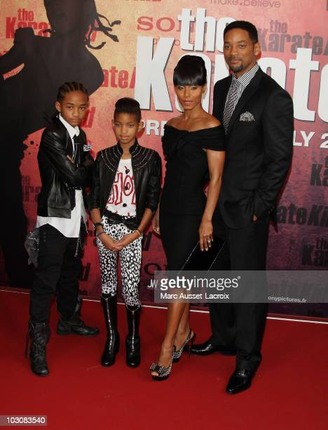 Jaden Smith, Willow Smith, Jada Pinkett Smith and Will Smith pose for 'The Karate Kid' Paris Premiere - Photocall at Le Grand Rex on July 25, 2010 in...