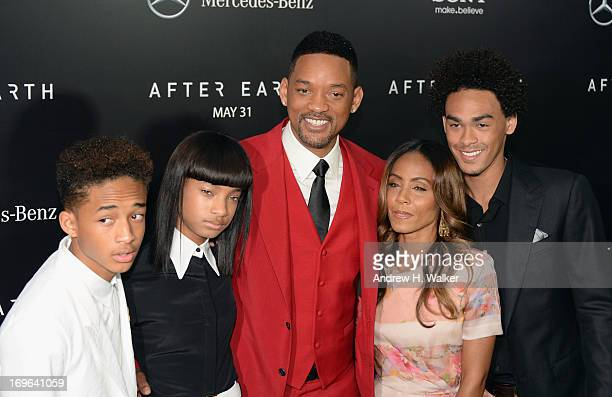 Jaden Smith Willow Smith Will Smith Jada Pinkett Smith and Trey Smith attend the After Earth premiere at Ziegfeld Theater on May 29 2013 in New York...
