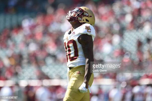 Jaden Williams of the Boston College Eagles celebrates after his first quarter touchdown against the Temple Owls at Lincoln Financial Field on...