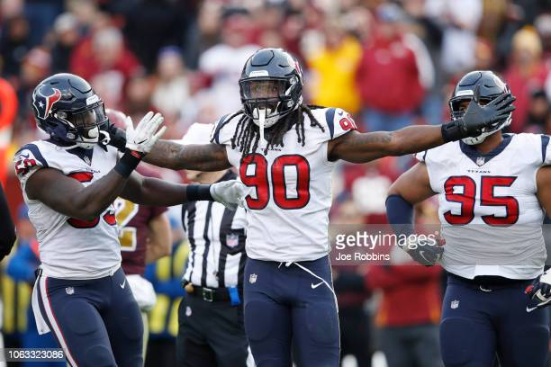 Jadeveon Clowney of the Houston Texans celebrates after a sack against the Washington Redskins in the fourth quarter of the game at FedExField on...