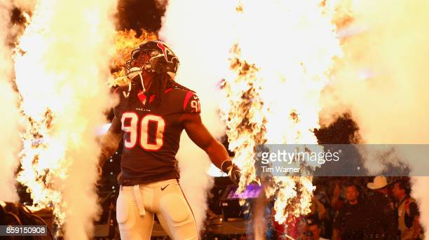 Jadeveon Clowney of the Houston Texans enters the field before the game against the Kansas City Chiefs at NRG Stadium on October 8 2017 in Houston...