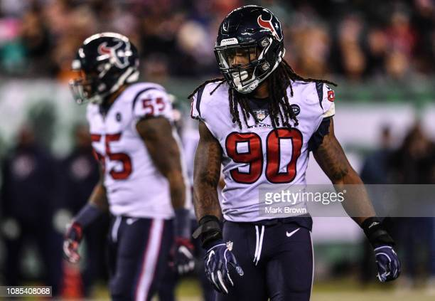 Jadeveon Clowney of the Houston Texans in action against the New York Jets at MetLife Stadium on December 15 2018 in East Rutherford New Jersey