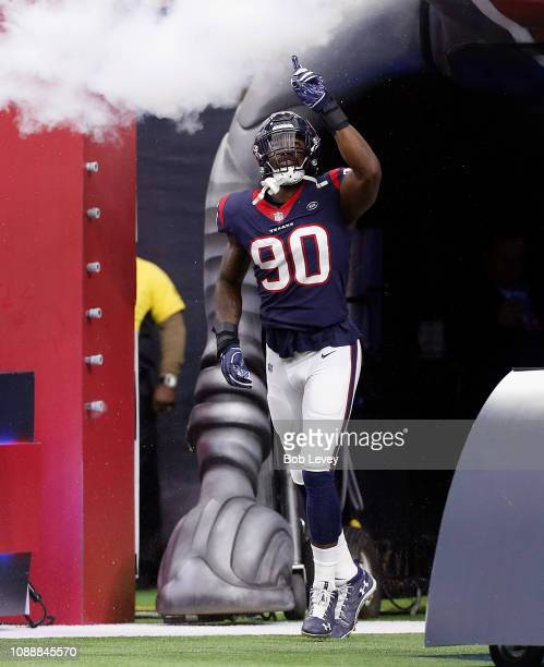 Jadeveon Clowney of the Houston Texans introduced to the crowd before playing the Jacksonville Jaguars at NRG Stadium on December 30 2018 in Houston...
