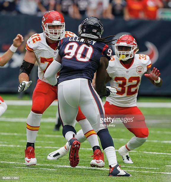 Jadeveon Clowney of the Houston Texans is double teamed by Eric Fisher of the Kansas City Chiefs and Spencer Ware at NRG Stadium on September 18 2016...