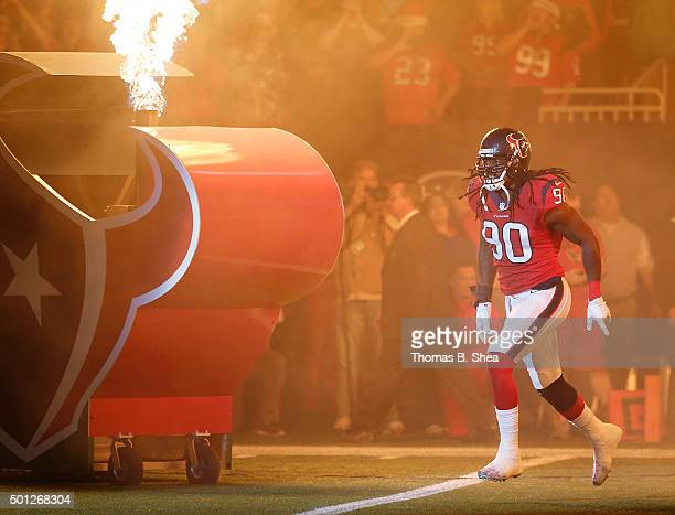 Jadeveon Clowney of the Houston Texans is introduced before playing against the New England Patriots on December 13 2015 at NRG Stadium in Houston...