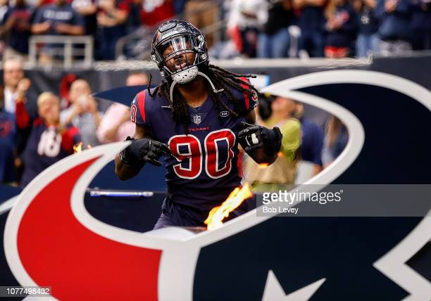 Jadeveon Clowney of the Houston Texans is introduced to the crowd before playing the Cleveland Browns at NRG Stadium on December 02 2018 in Houston...