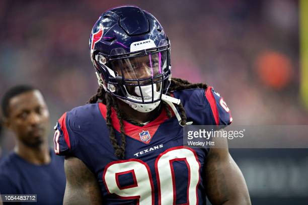 Jadeveon Clowney of the Houston Texans on the sidelines during a game against the Dallas Cowboys at NRG Stadium on October 7 2018 in Houston Texans...