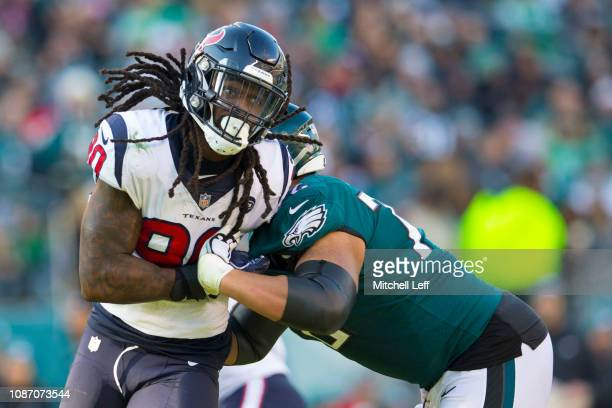 Jadeveon Clowney of the Houston Texans rushes the passer against Halapoulivaati Vaitai of the Philadelphia Eagles at Lincoln Financial Field on...