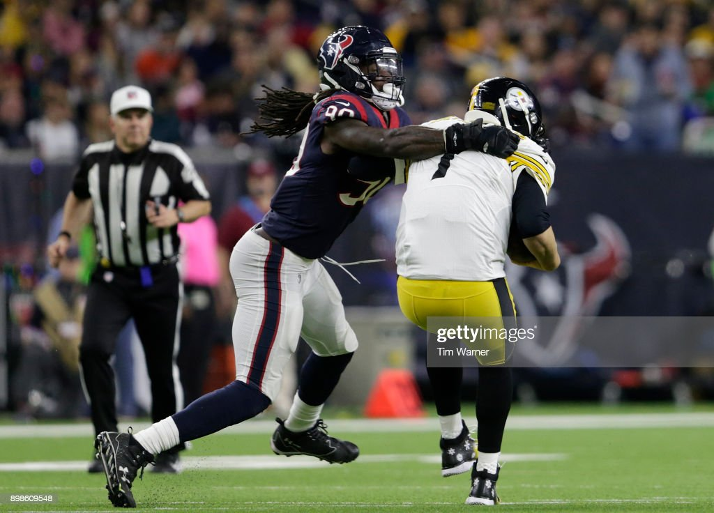 Jadeveon Clowney #90 of the Houston Texans sacks Ben Roethlisberger #7 of the Pittsburgh Steelers and is called for a facemask penalty in the third quarter at NRG Stadium on December 25, 2017 in Houston, Texas.