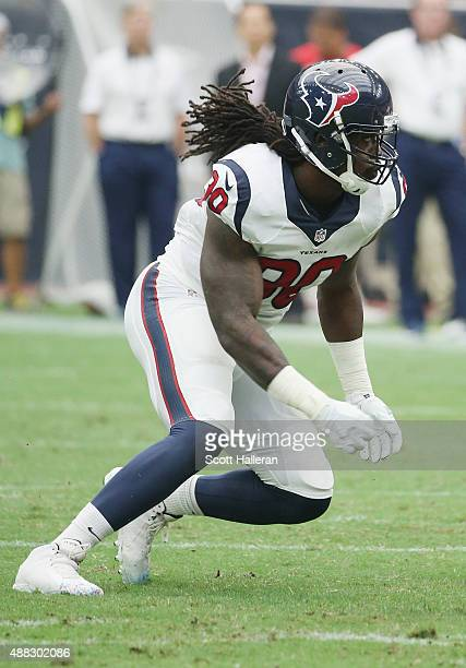 Jadeveon Clowney of the Houston Texans waits on the field during their game against the Kansas City Chiefs at NRG Stadium on September 13 2015 in...
