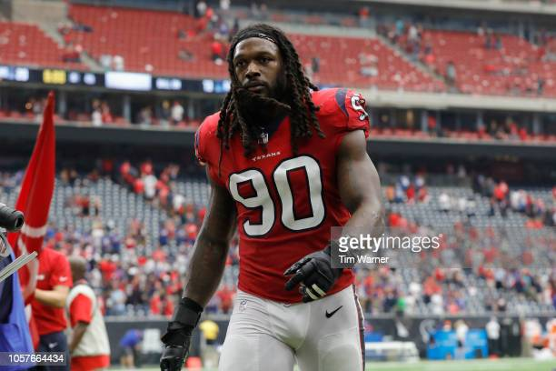 Jadeveon Clowney of the Houston Texans walks off the field after the game against the Buffalo Bills at NRG Stadium on October 14 2018 in Houston Texas