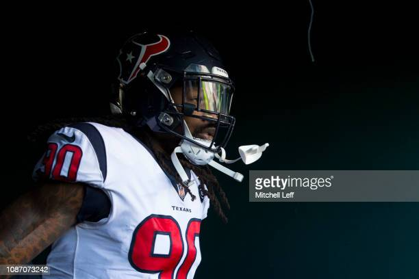 Jadeveon Clowney of the Houston Texans walks on the field prior to the game against the Philadelphia Eagles at Lincoln Financial Field on December 23...
