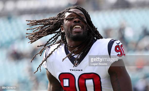 Jadeveon Clowney of the Houston Texans warms up on the field prior to the start of a game against the Jacksonville Jaguars at EverBank Field on...