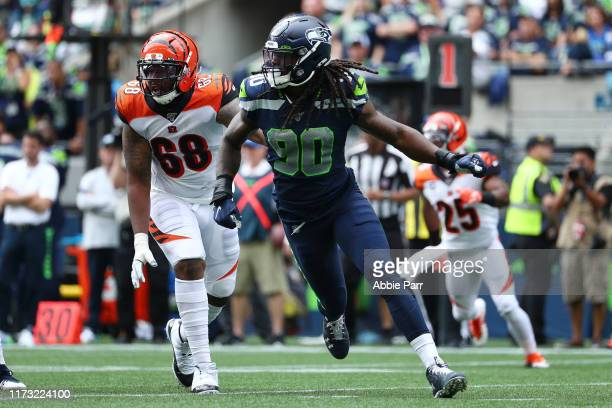 Jadeveon Clowney of the Seattle Seahawks in action in the second quarter against the Cincinnati Bengals during their game at CenturyLink Field on...