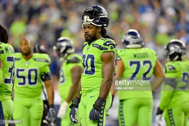 Jadeveon Clowney of the Seattle Seahawks looks at the Los Angeles Rams sideline during a timeout of the game at CenturyLink Field on October 03, 2019...