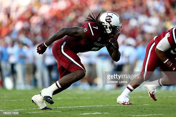 Jadeveon Clowney of the South Carolina during their game at WilliamsBrice Stadium on August 29 2013 in Columbia South Carolina