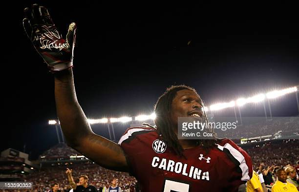 Jadeveon Clowney of the South Carolina Gamecocks celebrates after their 357 win over the Georgia Bulldogs at WilliamsBrice Stadium on October 6 2012...