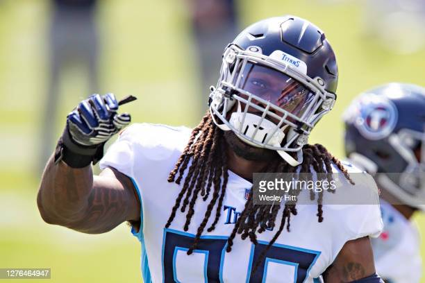 Jadeveon Clowney of the Tennessee Titans warms up before a game against the Jacksonville Jaguars at Nissan Stadium on September 20, 2020 in...