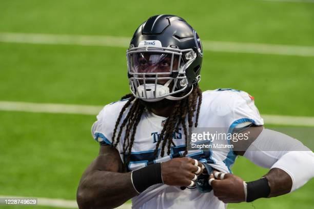 Jadeveon Clowney of the Tennessee Titans warms up before the game against the Minnesota Vikings at U.S. Bank Stadium on September 27, 2020 in...