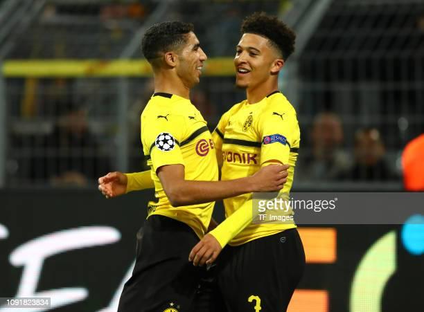 Jadon Malik Sancho of Borussia Dortmund celebrates after scoring his team's third goal with Achraf Hakimi of Borussia Dortmund during the UEFA...