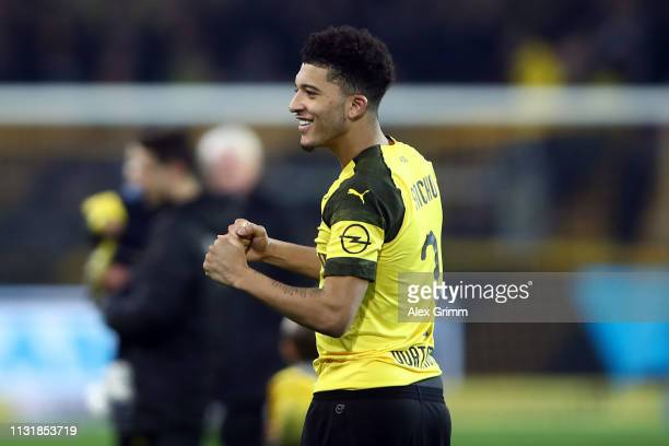 Jadon Malik Sancho of Borussia Dortmund celebrates after the Bundesliga match between Borussia Dortmund and Bayer 04 Leverkusen at Signal Iduna Park...