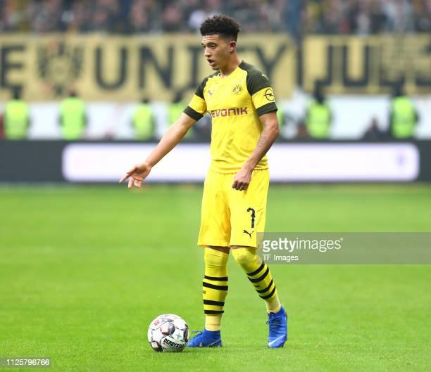 Jadon Malik Sancho of Borussia Dortmund controls the ball during the Bundesliga match between Eintracht Frankfurt and Borussia Dortmund at...