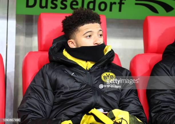 Jadon Malik Sancho of Borussia Dortmund on the bench during the Bundesliga match between Fortuna Duesseldorf and Borussia Dortmund at EspritArena on...