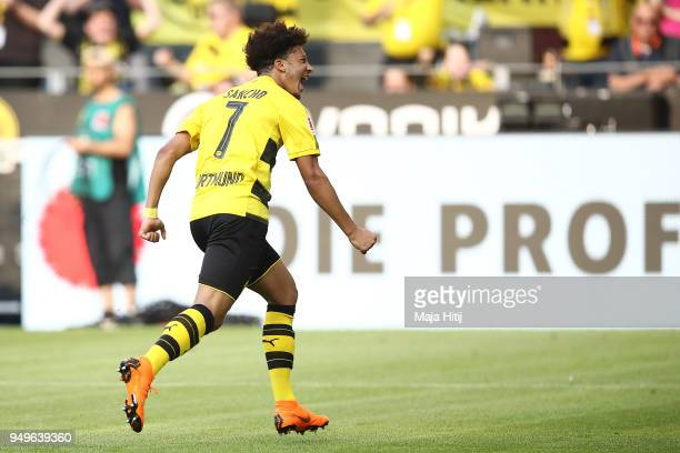 Jadon Malik Sancho of Dortmund celebrates after he scored a goal to make it 1= during the Bundesliga match between Borussia Dortmund and Bayer 04...