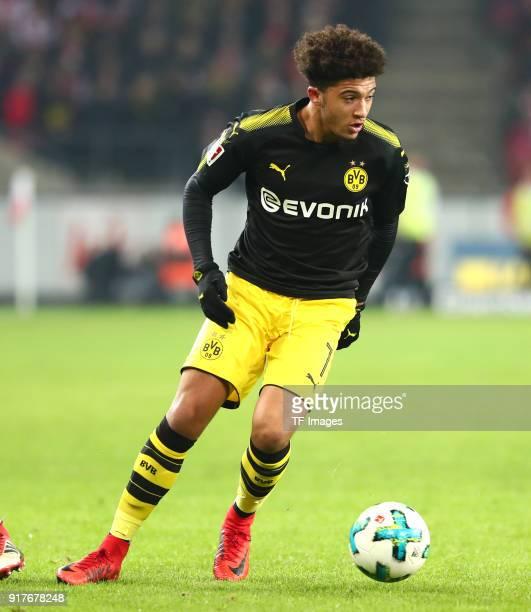 Jadon Malik Sancho of Dortmund controls the ball during the Bundesliga match between 1 FC Koeln and Borussia Dortmund at RheinEnergieStadion on...