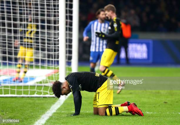 Jadon Malik Sancho of Dortmund looks dejected during the Bundesliga match between Hertha BSC and Borussia Dortmund at Olympiastadion on January 19...