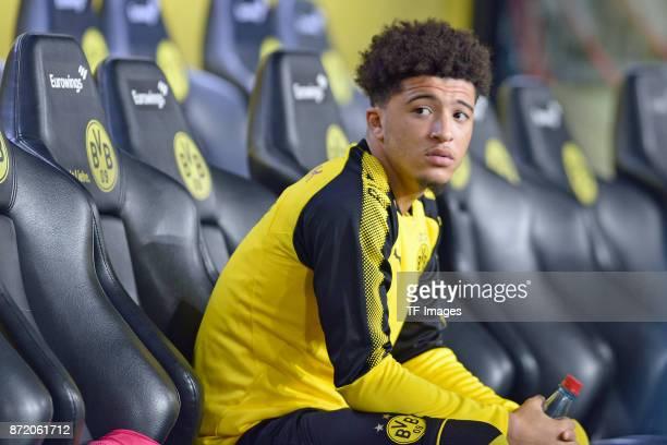 Jadon Malik Sancho of Dortmund looks on during the German Bundesliga match between Borussia Dortmund v Bayern Munchen at the Signal Iduna Park on...