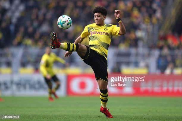 Jadon Malik Sancho of Dortmund plays the ball during the Bundesliga match between Borussia Dortmund and SportClub Freiburg at Signal Iduna Park on...