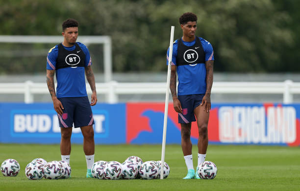 Jadon Sancho and Marcus Rashford of England look on during the England training session on June 03, 2021 in Middlesbrough, England.
