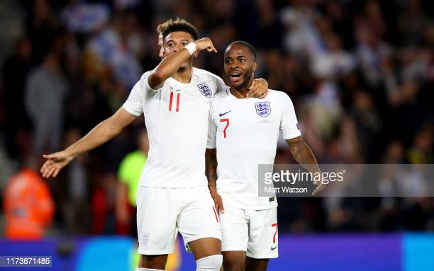 Jadon Sancho and Raheem Sterling of England celebrate during the UEFA Euro 2020 qualifier match between England and Kosovo at St Mary's Stadium on...