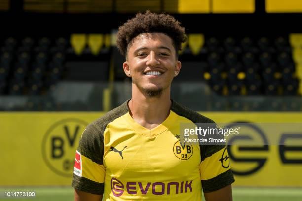 Jadon Sancho Borussia Dortmund poses during the team presentation at on August 10 2018 in Dortmund Germany