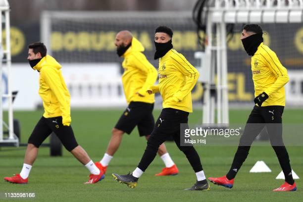 Jadon Sancho during a Borussia Dortmund training session ahead of their UEFA Champions League Round of 16 Second Leg match against Tottenham Hotspur...