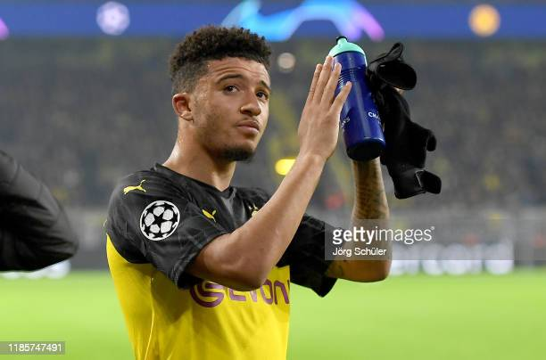 Jadon Sancho of Borussia Dortmund acknowledges the fans following the UEFA Champions League group F match between Borussia Dortmund and Inter at...