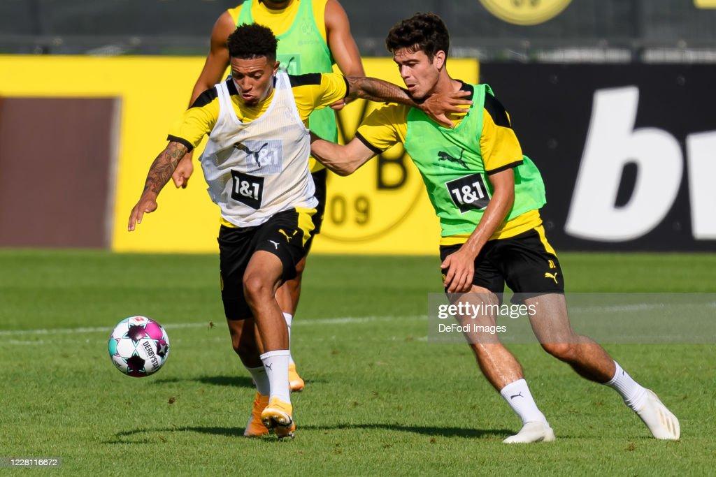 Jadon Sancho of Borussia Dortmund and Giovanni Reyna of Borussia ...