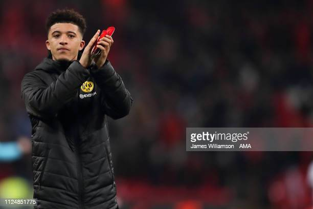Jadon Sancho of Borussia Dortmund at full time of the UEFA Champions League Round of 16 First Leg match between Tottenham Hotspur and Borussia...