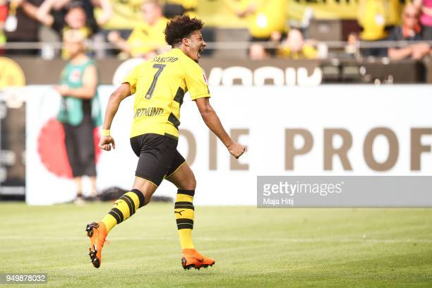 Jadon Sancho of Borussia Dortmund celebrates after scoring a goal to make it 10 during the Bundesliga match between Borussia Dortmund and Bayer 04...