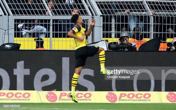 Jadon Sancho of Borussia Dortmund celebrates after scoring his team's first goal during the Bundesliga match between Borussia Dortmund and Hertha BSC...