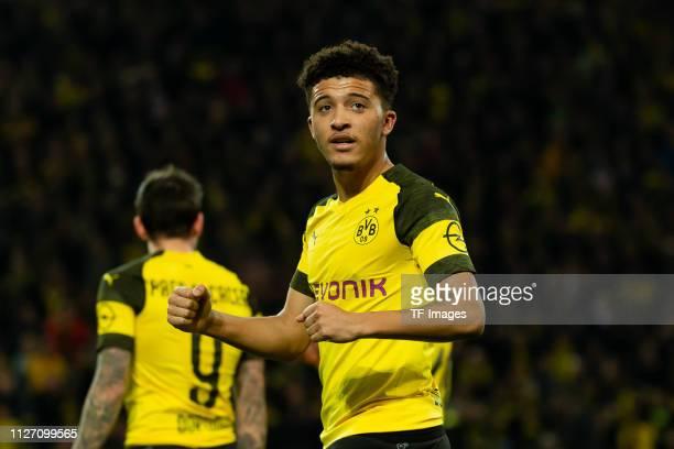 Jadon Sancho of Borussia Dortmund celebrates after scoring his team's second goal during the Bundesliga match between Borussia Dortmund and Bayer 04...