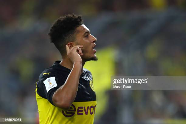 Jadon Sancho of Borussia Dortmund celebrates after scoring his team's second goal during the DFL Supercup 2019 match between Borussia Dortmund and FC...