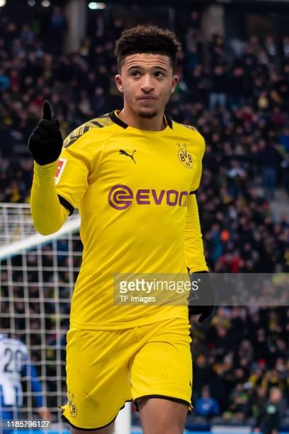 Jadon Sancho of Borussia Dortmund celebrates after scoring his team's first goal during the Bundesliga match between Hertha BSC and Borussia Dortmund...