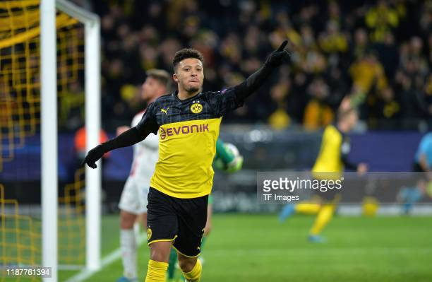Jadon Sancho of Borussia Dortmund celebrates after scoring his teams first goal during the UEFA Champions League group F match between Borussia...