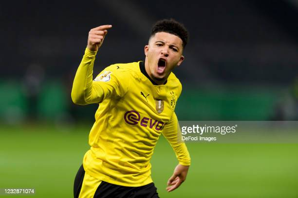 Jadon Sancho of Borussia Dortmund celebrates after scoring his team's first goal during the DFB Cup final match between RB Leipzig and Borussia...